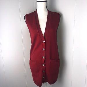 100% Wool long button down sweater